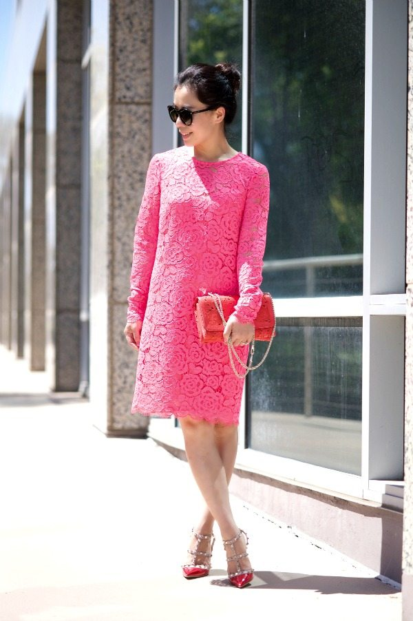 HallieDaily DKNY-Pink-Lace-Dress-Valentino-Shoes-Bag 1