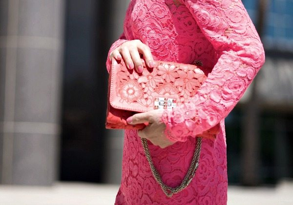 HallieDaily DKNY-Pink-Lace-Dress-Valentino-Shoes-Bag 5