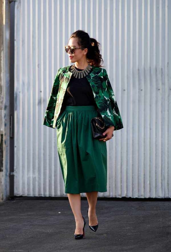 Green Night Out Printed Jacket And Midi Skirt Hallie Daily