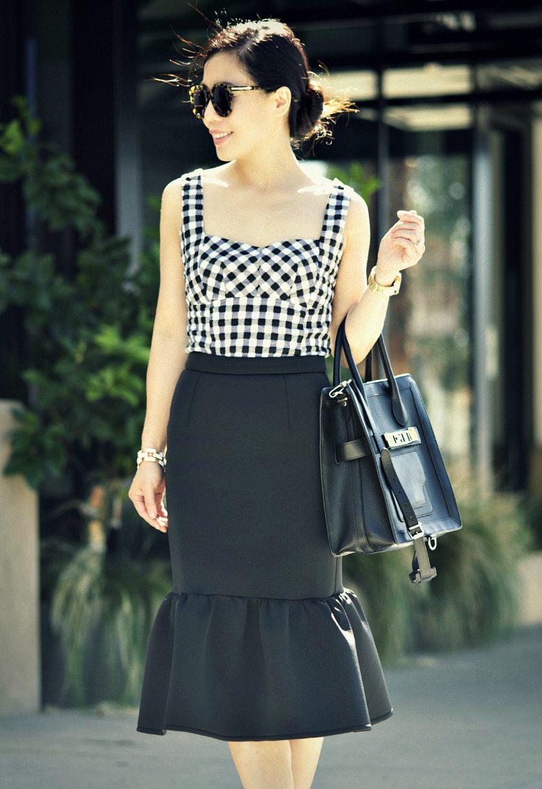 Casual Classic Peplum Pencil Skirt And Stripy Flat
