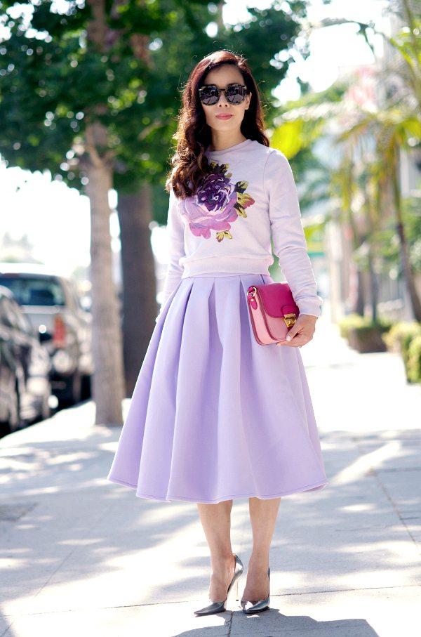 Sweet Pastel Cropped Sweatshirt And Full Midi Skirt