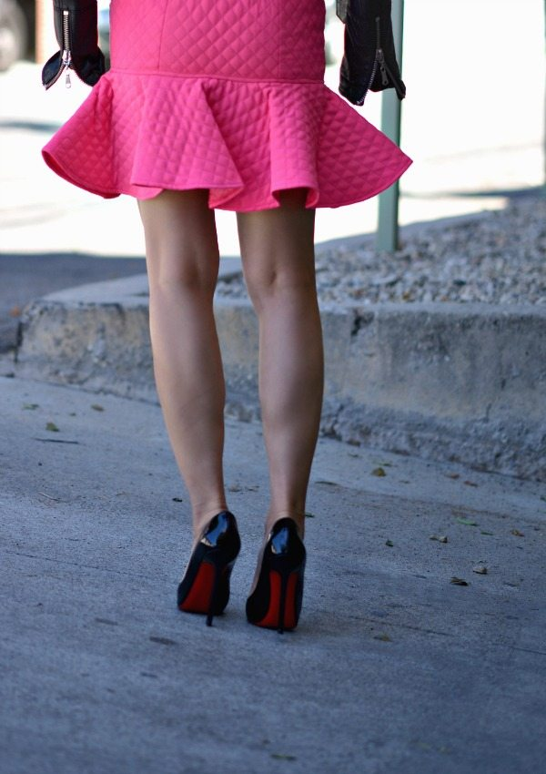 Pink Frill Hem Skirt And Leather Jacket Hallie Daily