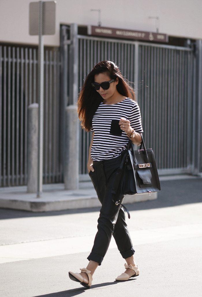 HallieDaily:Striped-Tee-Proenza-Schouler-Bag-Shoes-TopShop-Pants 1