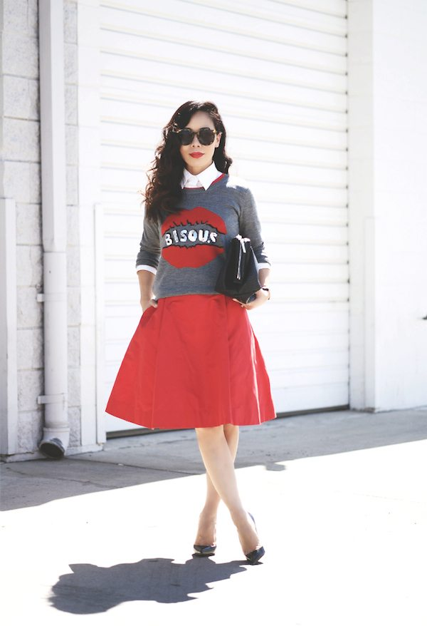 Red Lips Sweater and Red Kate Spade Dress 5