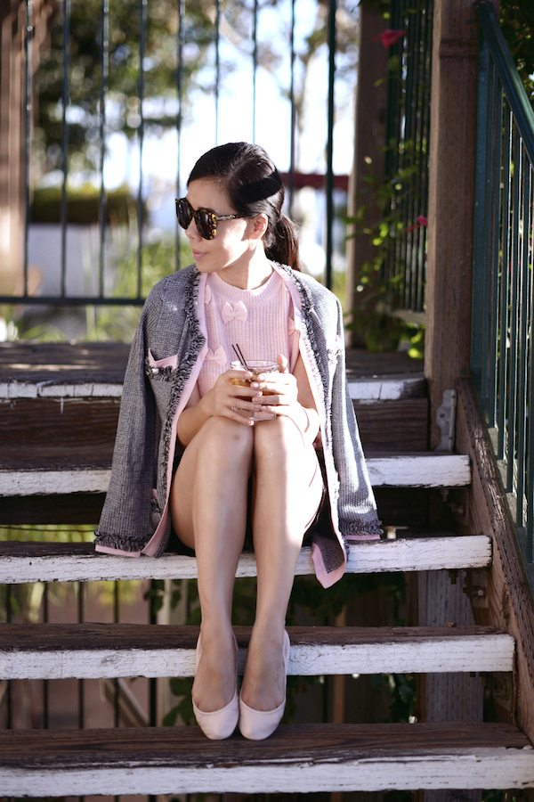 HallieDaily-In-Pink-Tweed-Jacket-Pink-Flats 2