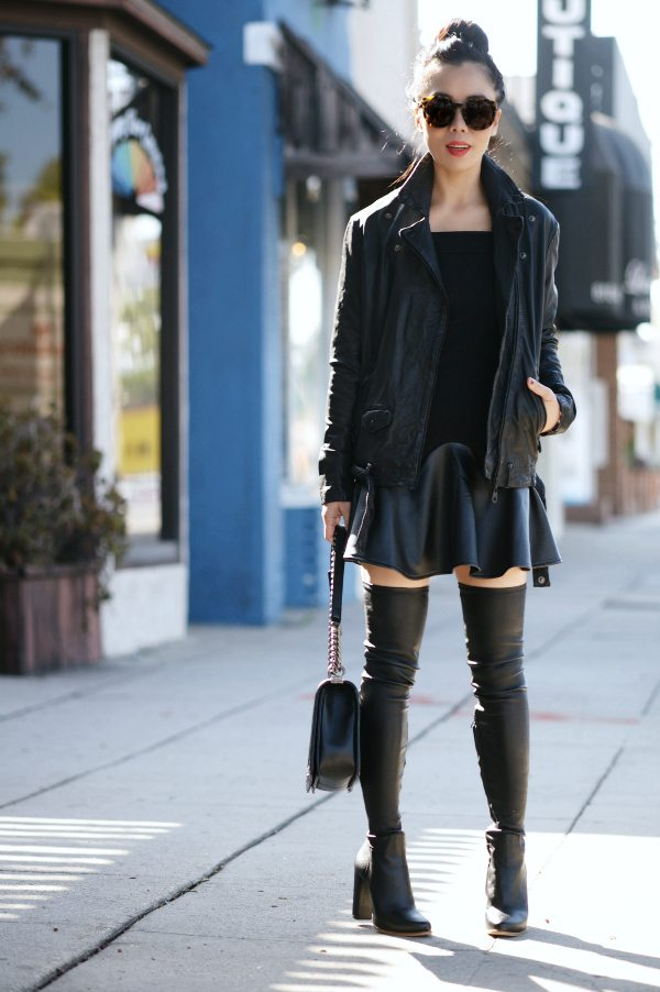 chanel over the knee boots. halliedaily: leather jacket and black mini dress 1 chanel over the knee boots h
