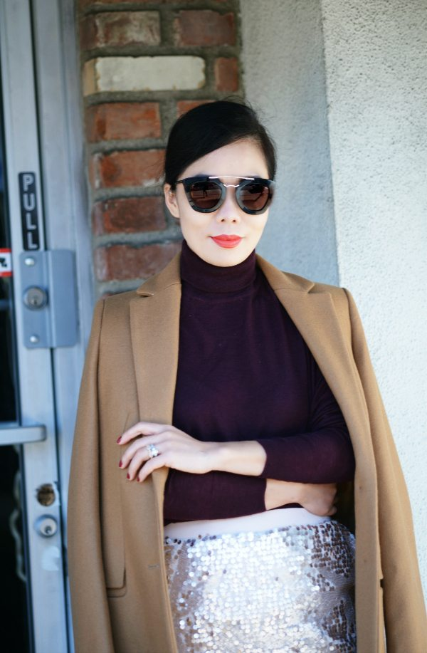 Turtleneck Sweater And Sequin Skirt Hallie Daily