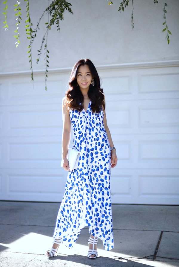 HallieDaily White Sandals and Printed Dress  3