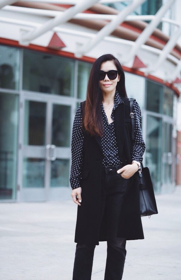 HallieDaily: Milly Sleeveless Coat N ACNE Jeans