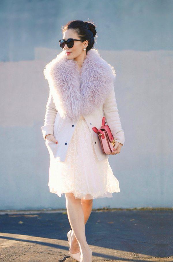 HallieDaily: Fur Collar and Tulle Skirt