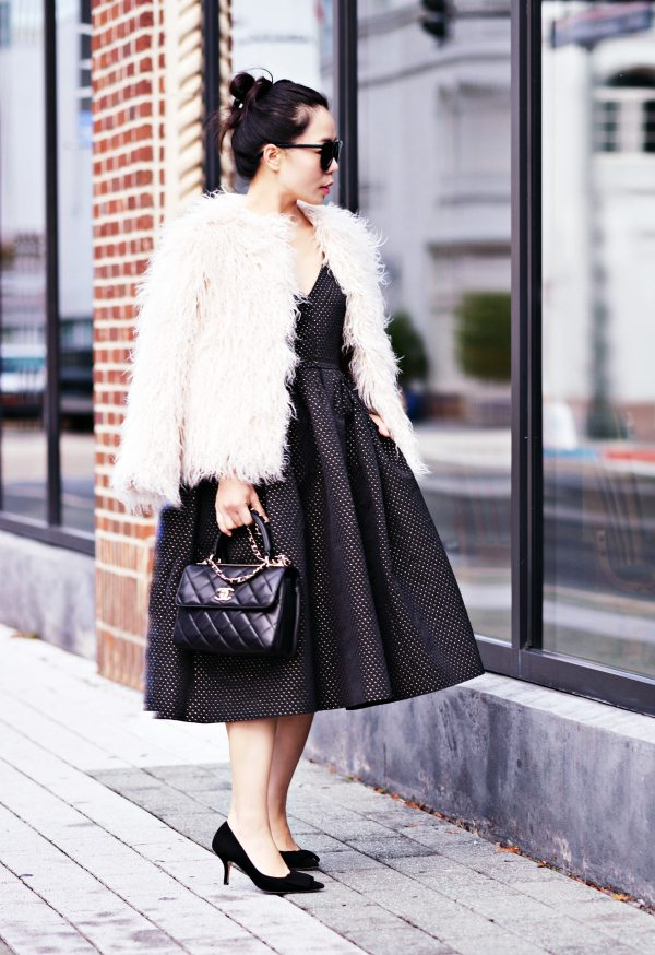 What To Wear For Nye Lbd Faux Fur Coat Hallie Daily