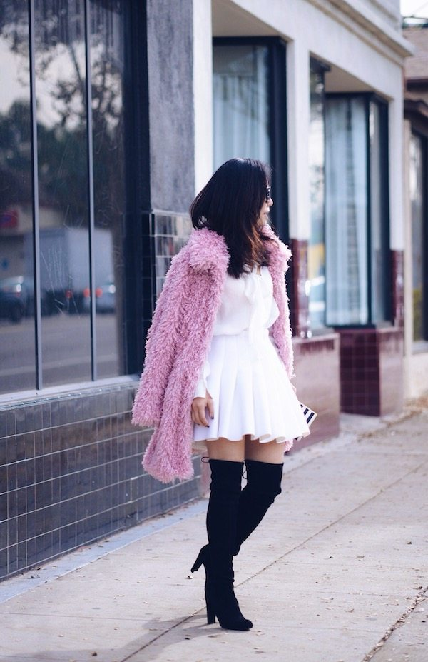 Furry Babe Pink Faux Fur Coat And Over The Knee Boots