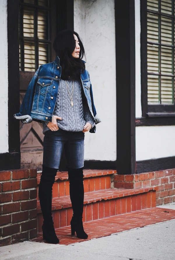 HallieDaily-Cable Knit Sweater-Over-the-Knee Boots-Denim-Jacket