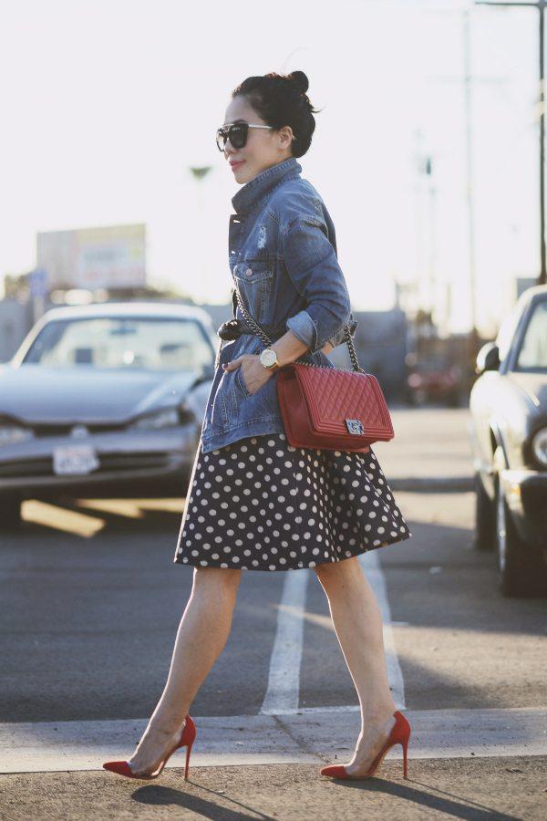 HallieDaily Red Valentines-Polka Dot Dress-Chanel Bag-Denim Jacket 1