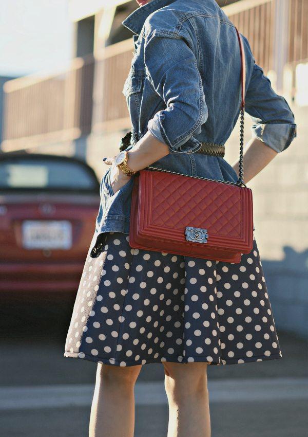 HallieDaily Red Valentines-Polka Dot Dress-Chanel Bag-Denim Jacket 4