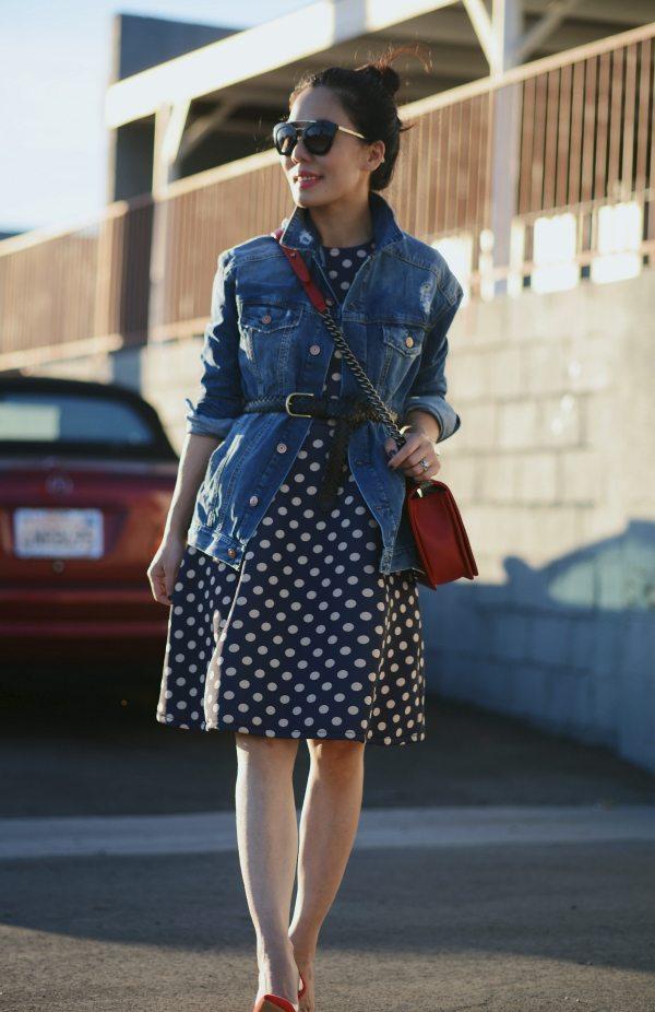 HallieDaily Red Valentines-Polka Dot Dress-Chanel Bag-Denim Jacket 6