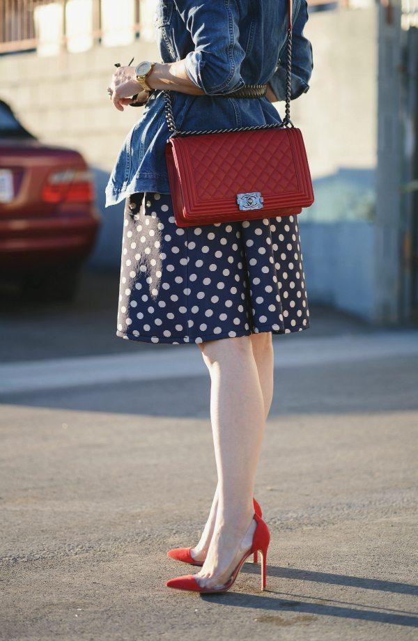 HallieDaily Red Valentines-Polka Dot Dress-Chanel Bag-Denim Jacket 7