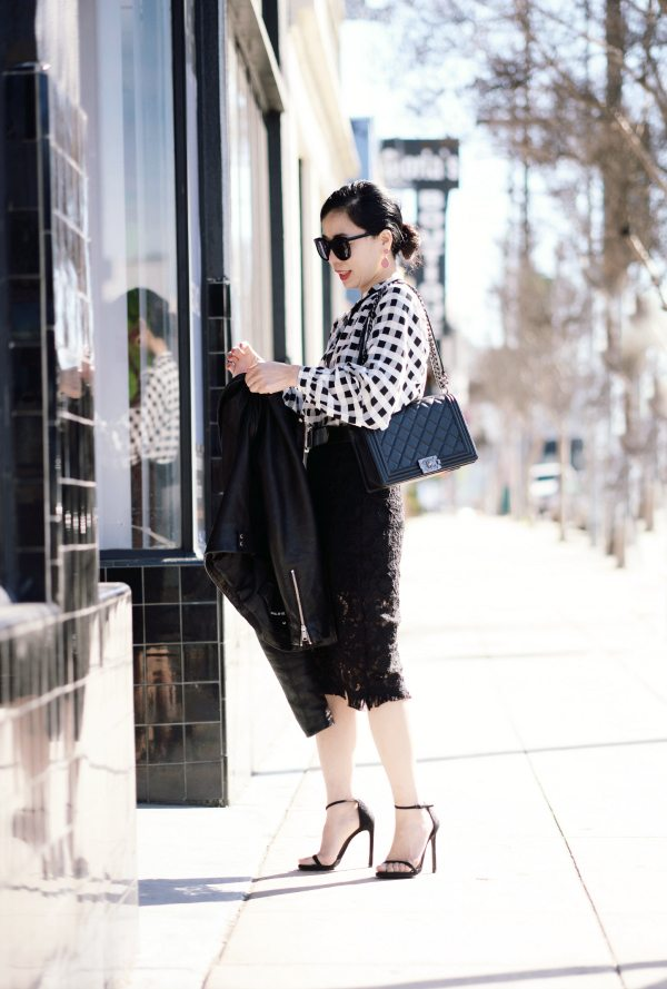 Black And White Style Plaid Shirt And Lace Pencil Skirt