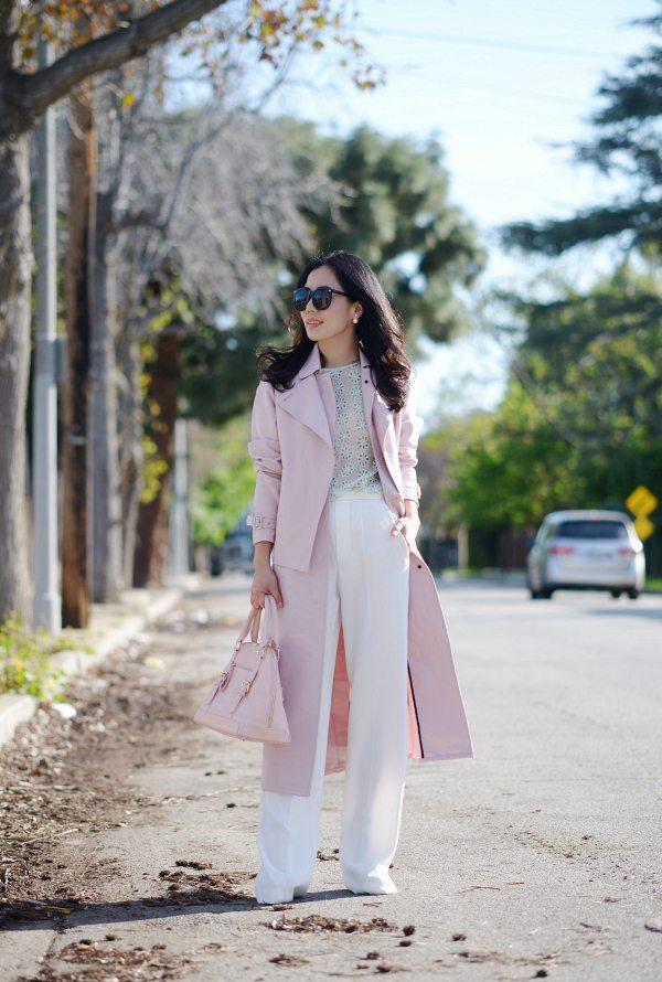 HallieDaily: Tibi Blush Trench-Wide Leg Pants-Spring Pastel Style