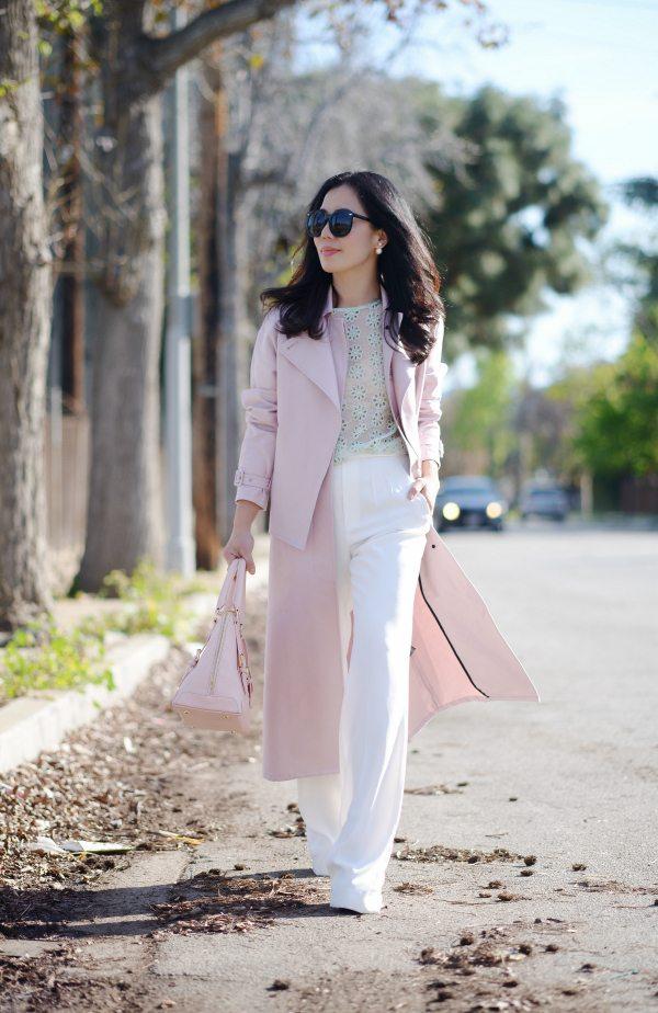 HallieDaily: Tibi Blush Trench-Wide Leg Pants-Spring Pastel Style 10