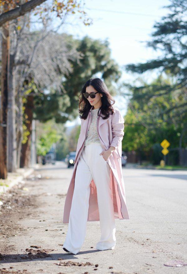 HallieDaily: Tibi Blush Trench-Wide Leg Pants-Spring Pastel Style 11