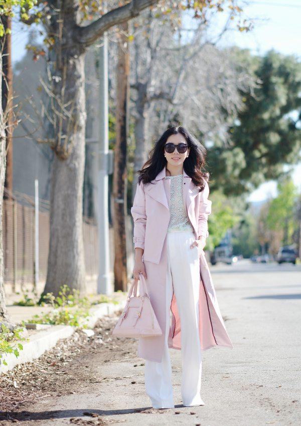 HallieDaily: Tibi Blush Trench-Wide Leg Pants-Spring Pastel Style 3