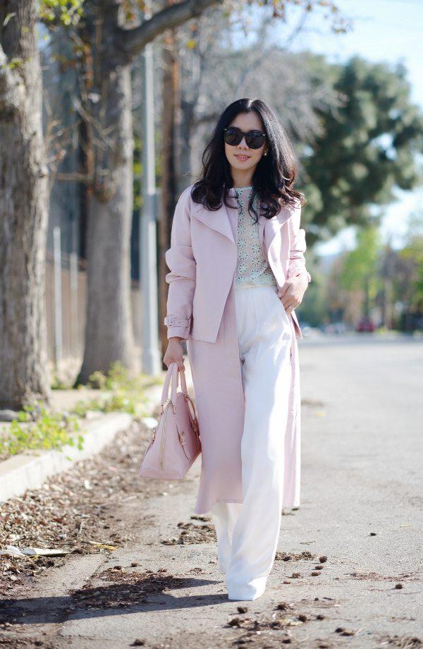 HallieDaily: Tibi Blush Trench-Wide Leg Pants-Spring Pastel Style 8