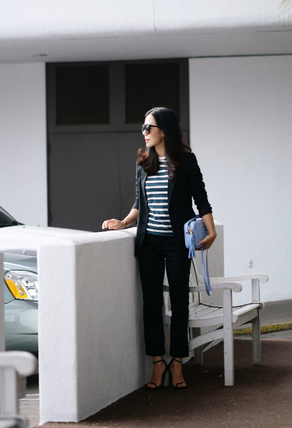 Business Chic Summer Black Suit And Gucci Soho Bag