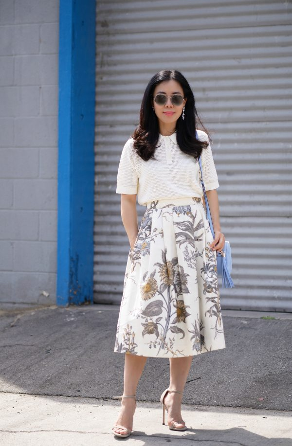 polo shirt and floral midi skirt hallie daily