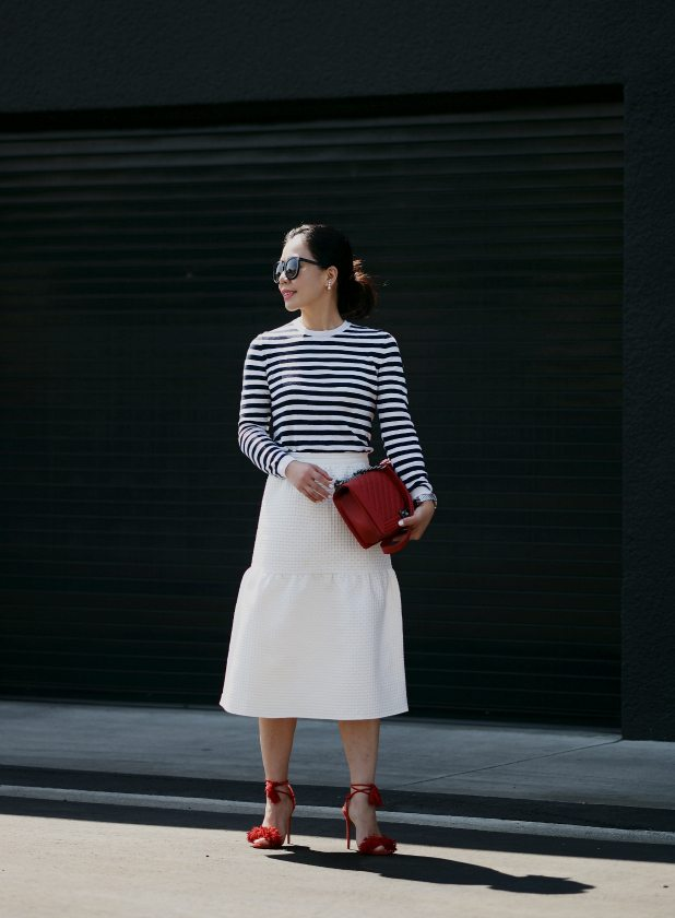 HallieDaily: Striped Top, Mother of Pearl Pencil Skirt, Aqurazzura Wild Thing Sandals, Chanel Le Boy Bag