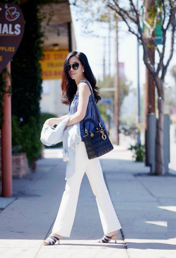 HallieDaily: Denim Cami-White Pants-Dior Bag 4