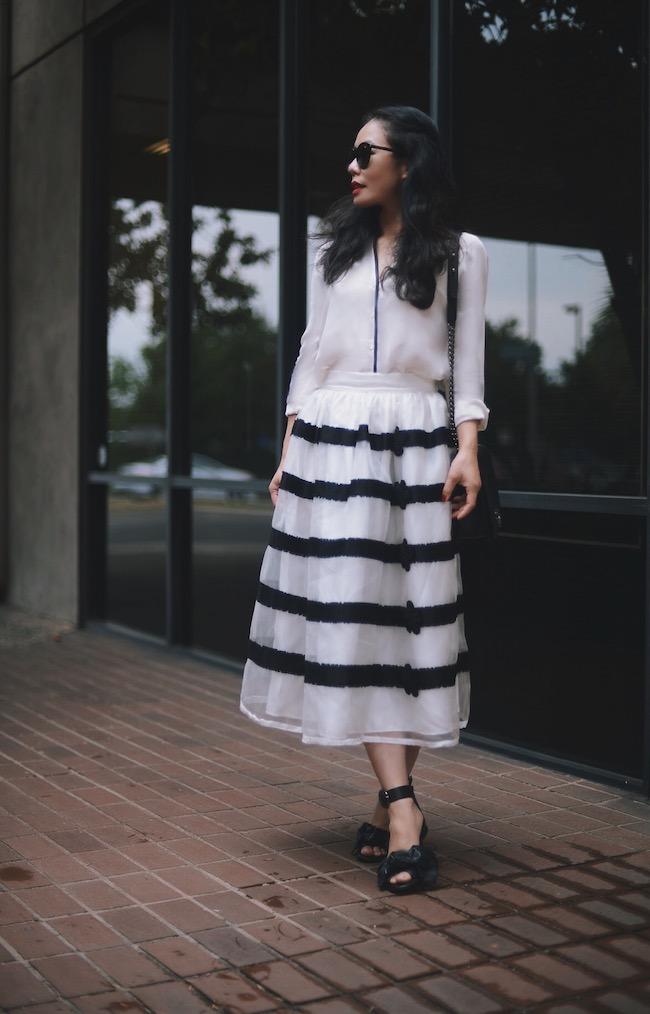 B & W: Striped Silk Skirt & Bow Sandals | Hallie Daily