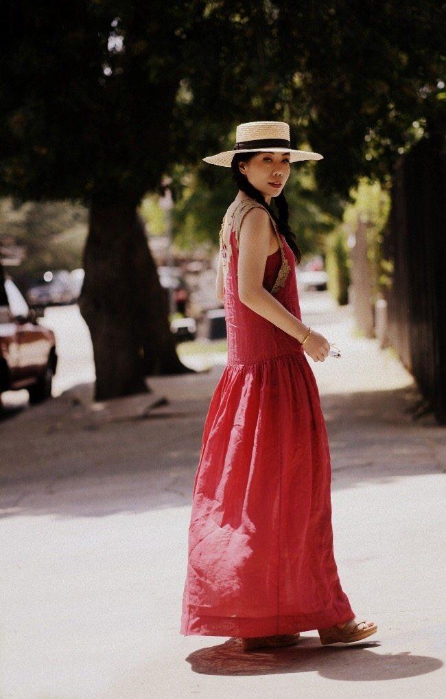 08bbbb2ec5cb Red Maxi Dress   Straw Hat