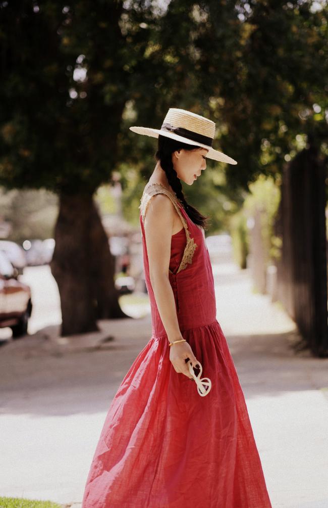 Red Maxi Dress Amp Straw Hat Hallie Daily