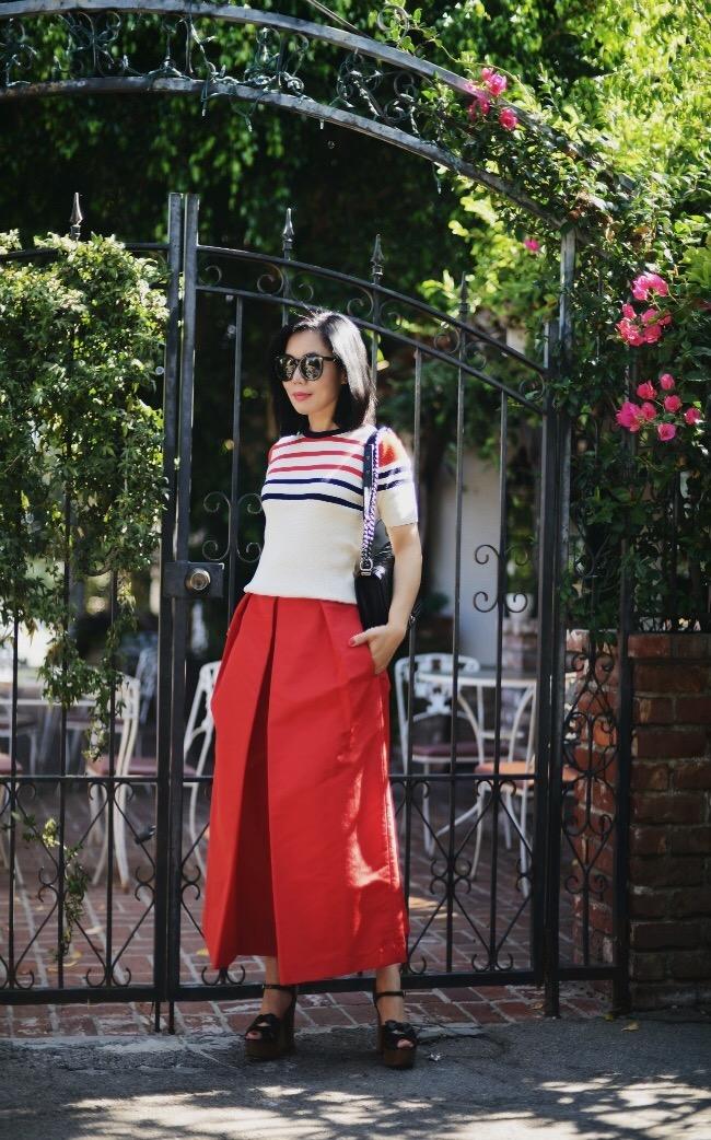 e64b569ea0a3 HallieDaily  Tibi Red Culottes-Saint Lauren Platform Sandals-ASOS Striped  Knit Top 7