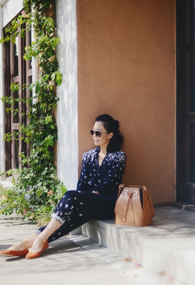 Floral Jumpsuit, Bucket Bag, and Ballet Flats, via: HallieDaily