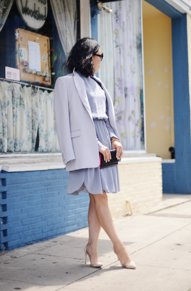 Lilac Ash, Tailored Blazer, High Neck Dress, Fall Outfit, Via: HallieDaily