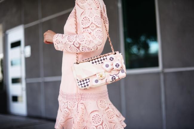 Blush Pink Lace Dress, via: HallieDaily