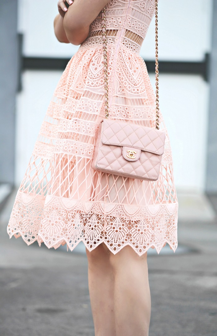 b7a5d56f62fed0 HallieDaily, Style, Street Style, Lookbook, Lace on Lace, Trend, Ralph  Lauren, Lace Jacket, Alexis, Lace Dress, Pink Dress, Blush Trend, Chanel Bag,  ...