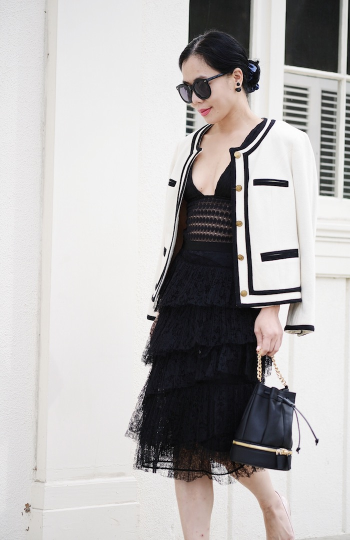 572b30b85c Black & White: Bucket Bag, Burberry London Lace Pencil Skirt, Lace  Bodysuit, Miu Miu Flats, via: HallieDaily