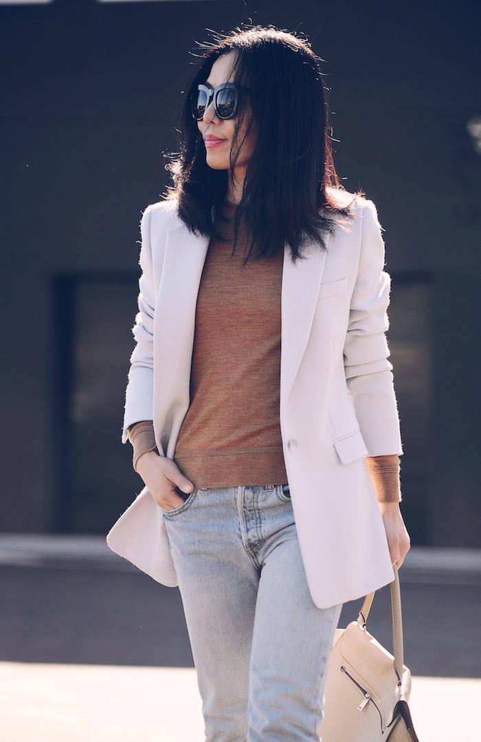 Camel Sweater, Gray Blazer, Raw Hem Jeans, Celine Bag, via: HallieDaily