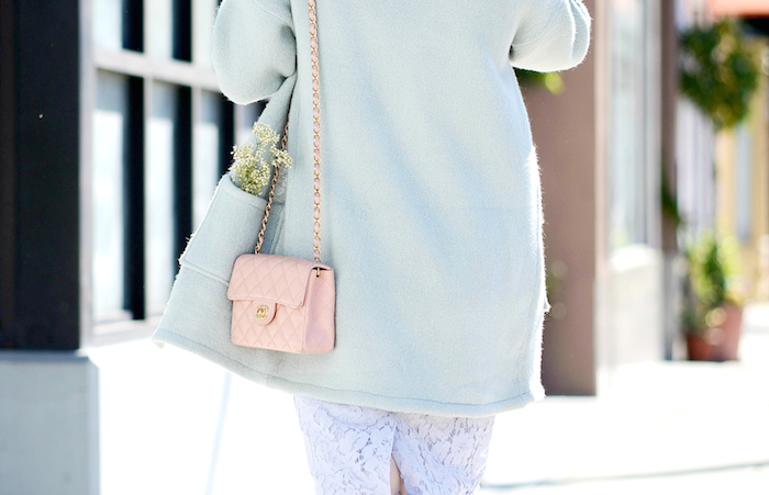 Pastel Spring Style, Lace Skirt, Dior Shoes, Chanel Bag, via: HallieDaily