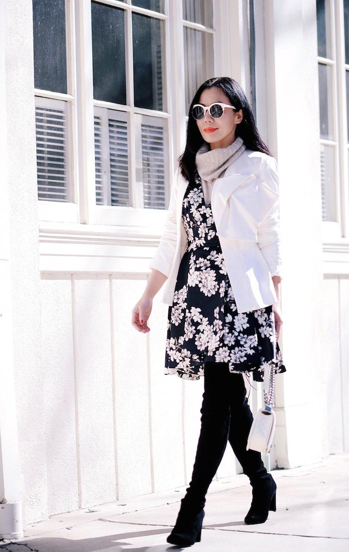 Flower Power, Alice & Olivia Floral Dress, Cashmere Sweater, Stuart Weitzman OTK Boot, Chanel Boy Bag, via: HallieDaily
