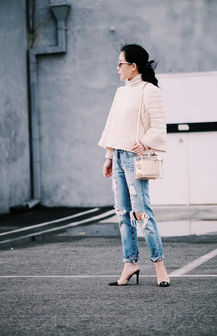 Levi's Vintage Distressed Jeans, Isabel Marant Top, Mark Cross Bag, Chanel Pumps, via: HallieDaily