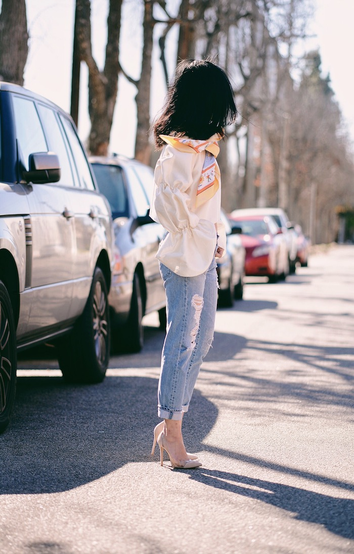 Blue Jeans Babe, AG Jeans, Hermes Scarf, Gianvito Rossi Shoes, via: HallieDaily
