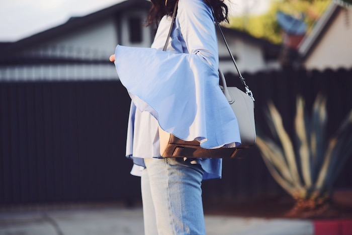 Bohemian Style, Bell Sleeve Shirt, Givenchy Antigona Bag, via: HallieDaily