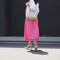 "In Pink, Pink Midi Skirt, Oversized White Button-down Shirt, Dior Shoes,  Givenchy ""Antigona""  Bag, Oscar de la Renta Earrings, via: HallieDaily"