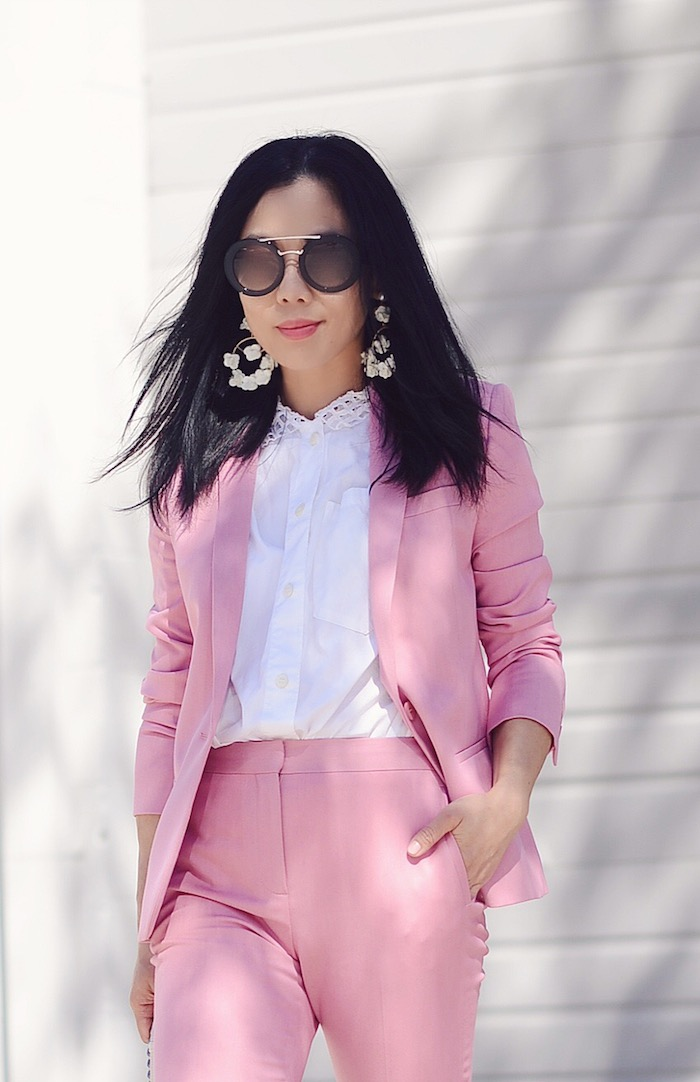 borrowed from the boys style spring style pink suit floral