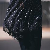 Lady Like: Zimmermann Polka Dot Silk Blouse, J.Brand Ripped Jeans, Lady Dior Bag, Red Mid-heel Shoes, via: HallieDaily