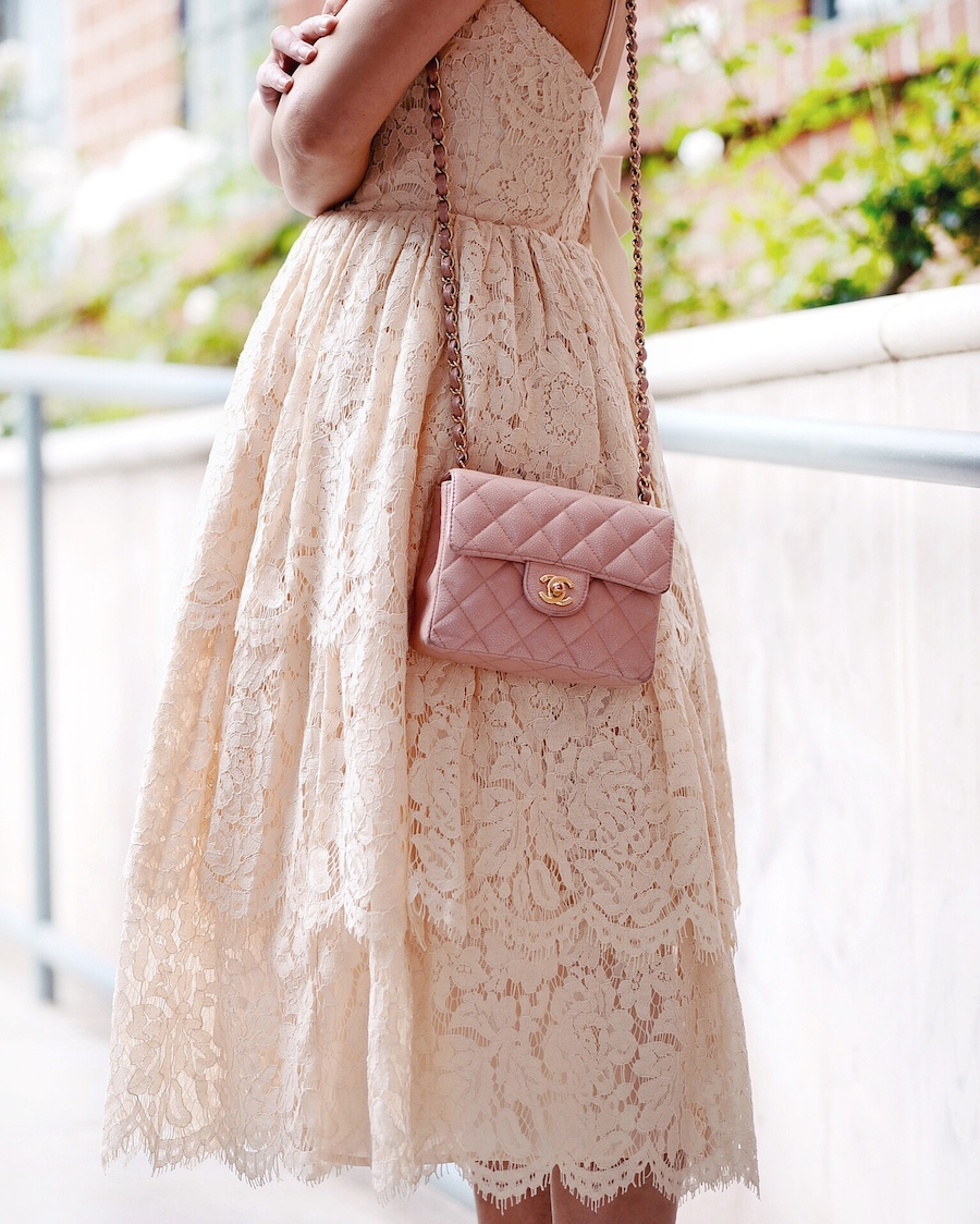 Lace & Chanel, Lace Dress, Burberry Cropped Trench, Chanel Mini Bag, Chanel Two-Tone Pumps, Elegance, via: HallieDaily